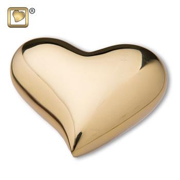 Bright Gold Heart Urn
