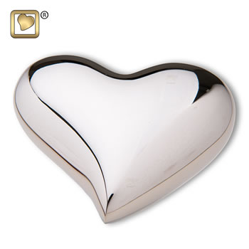 Bright Silver Heart Urn