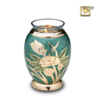 Tealight Emerald Rose Keepsake Urn