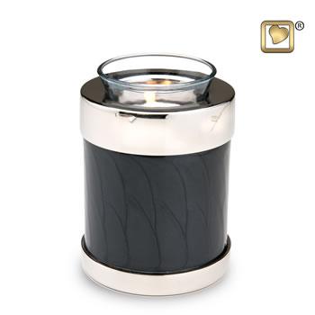 Tealight Midnight Pearl Silver Keepsake Urn