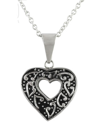 Cut-Out Heart Pendant - Stainless Steel