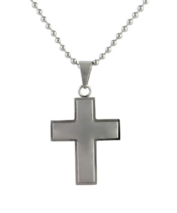 Large Cross Pendant - Stainless Steel